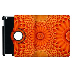 Lotus Fractal Flower Orange Yellow Apple Ipad 3/4 Flip 360 Case by EDDArt