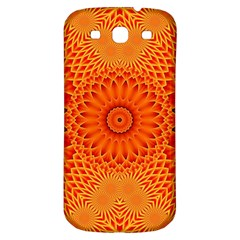 Lotus Fractal Flower Orange Yellow Samsung Galaxy S3 S Iii Classic Hardshell Back Case by EDDArt