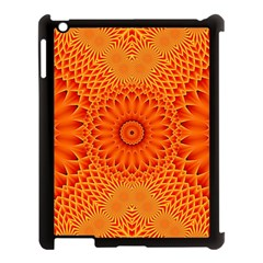Lotus Fractal Flower Orange Yellow Apple Ipad 3/4 Case (black) by EDDArt
