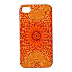 Lotus Fractal Flower Orange Yellow Apple Iphone 4/4s Hardshell Case With Stand by EDDArt
