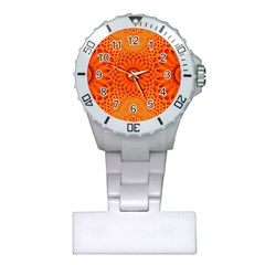 Lotus Fractal Flower Orange Yellow Plastic Nurses Watch by EDDArt