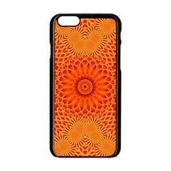 Lotus Fractal Flower Orange Yellow Apple Iphone 6/6s Black Enamel Case by EDDArt