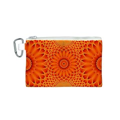 Lotus Fractal Flower Orange Yellow Canvas Cosmetic Bag (s) by EDDArt