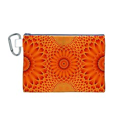 Lotus Fractal Flower Orange Yellow Canvas Cosmetic Bag (m) by EDDArt