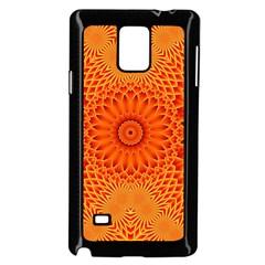 Lotus Fractal Flower Orange Yellow Samsung Galaxy Note 4 Case (black) by EDDArt