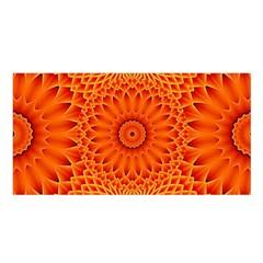 Lotus Fractal Flower Orange Yellow Satin Shawl by EDDArt