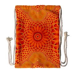 Lotus Fractal Flower Orange Yellow Drawstring Bag (large) by EDDArt