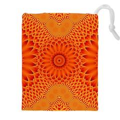 Lotus Fractal Flower Orange Yellow Drawstring Pouches (xxl) by EDDArt