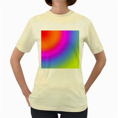 Radial Gradients Red Orange Pink Blue Green Women s Yellow T Shirt by EDDArt