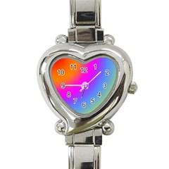 Radial Gradients Red Orange Pink Blue Green Heart Italian Charm Watch by EDDArt