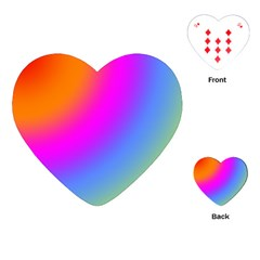 Radial Gradients Red Orange Pink Blue Green Playing Cards (heart)  by EDDArt