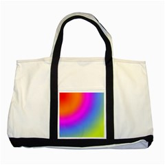 Radial Gradients Red Orange Pink Blue Green Two Tone Tote Bag by EDDArt