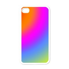 Radial Gradients Red Orange Pink Blue Green Apple Iphone 4 Case (white) by EDDArt