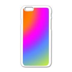 Radial Gradients Red Orange Pink Blue Green Apple Iphone 6/6s White Enamel Case by EDDArt