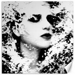 Romantic Dreaming Girl Grunge Black White Canvas 16  X 16   by EDDArt