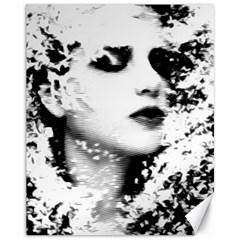 Romantic Dreaming Girl Grunge Black White Canvas 11  X 14   by EDDArt