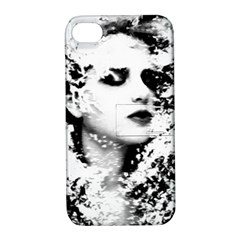 Romantic Dreaming Girl Grunge Black White Apple Iphone 4/4s Hardshell Case With Stand by EDDArt