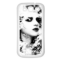 Romantic Dreaming Girl Grunge Black White Samsung Galaxy S3 Back Case (white) by EDDArt