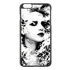 Romantic Dreaming Girl Grunge Black White Apple Iphone 6 Plus/6s Plus Black Enamel Case by EDDArt