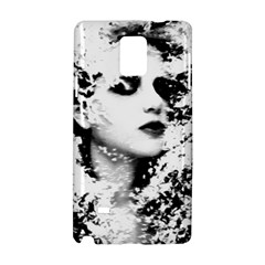 Romantic Dreaming Girl Grunge Black White Samsung Galaxy Note 4 Hardshell Case by EDDArt