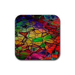 Abstract Squares Triangle Polygon Rubber Square Coaster (4 Pack)  by AnjaniArt