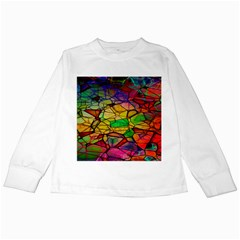 Abstract Squares Triangle Polygon Kids Long Sleeve T-Shirts by AnjaniArt