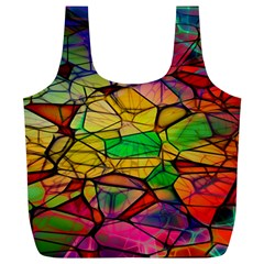 Abstract Squares Triangle Polygon Full Print Recycle Bags (l)  by AnjaniArt