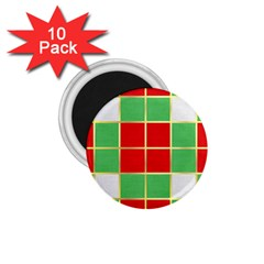 Christmas Fabric Textile Red Green 1 75  Magnets (10 Pack)  by AnjaniArt