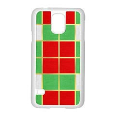 Christmas Fabric Textile Red Green Samsung Galaxy S5 Case (white) by AnjaniArt