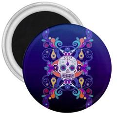 Día De Los Muertos Skull Ornaments Multicolored 3  Magnets by EDDArt