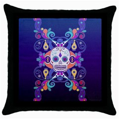 Día De Los Muertos Skull Ornaments Multicolored Throw Pillow Case (black) by EDDArt