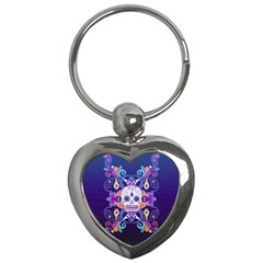 Día De Los Muertos Skull Ornaments Multicolored Key Chains (heart)  by EDDArt