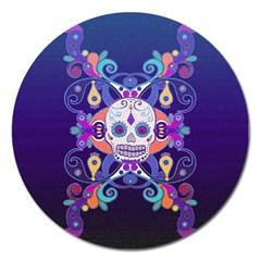Día De Los Muertos Skull Ornaments Multicolored Magnet 5  (round) by EDDArt