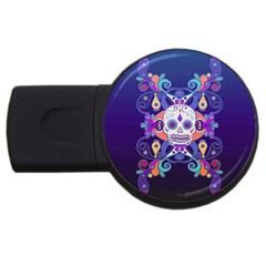 Día De Los Muertos Skull Ornaments Multicolored Usb Flash Drive Round (2 Gb)  by EDDArt