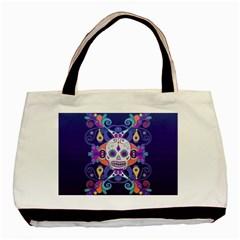 Día De Los Muertos Skull Ornaments Multicolored Basic Tote Bag (two Sides) by EDDArt