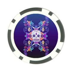 Día De Los Muertos Skull Ornaments Multicolored Poker Chip Card Guards (10 Pack)  by EDDArt