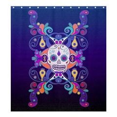 Día De Los Muertos Skull Ornaments Multicolored Shower Curtain 66  X 72  (large)  by EDDArt