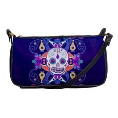 Día De Los Muertos Skull Ornaments Multicolored Shoulder Clutch Bags by EDDArt