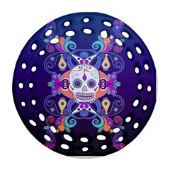 Día De Los Muertos Skull Ornaments Multicolored Ornament (round Filigree)  by EDDArt