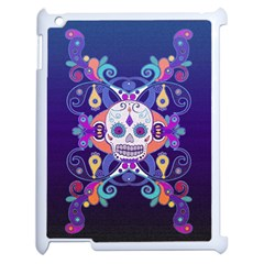 Día De Los Muertos Skull Ornaments Multicolored Apple Ipad 2 Case (white) by EDDArt