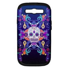 Día De Los Muertos Skull Ornaments Multicolored Samsung Galaxy S Iii Hardshell Case (pc+silicone) by EDDArt