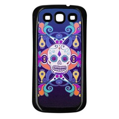 Día De Los Muertos Skull Ornaments Multicolored Samsung Galaxy S3 Back Case (black) by EDDArt