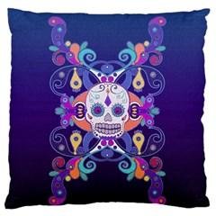 Día De Los Muertos Skull Ornaments Multicolored Standard Flano Cushion Case (two Sides) by EDDArt