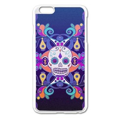 Día De Los Muertos Skull Ornaments Multicolored Apple Iphone 6 Plus/6s Plus Enamel White Case by EDDArt