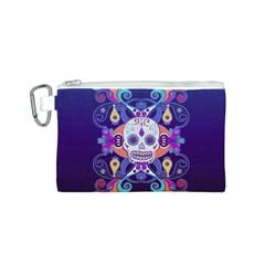 Día De Los Muertos Skull Ornaments Multicolored Canvas Cosmetic Bag (s) by EDDArt