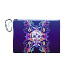 Día De Los Muertos Skull Ornaments Multicolored Canvas Cosmetic Bag (m) by EDDArt