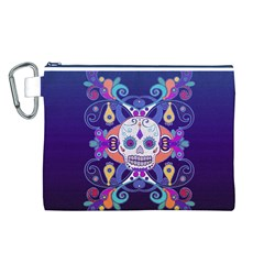 Día De Los Muertos Skull Ornaments Multicolored Canvas Cosmetic Bag (l) by EDDArt