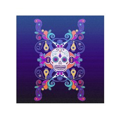 Día De Los Muertos Skull Ornaments Multicolored Small Satin Scarf (square) by EDDArt