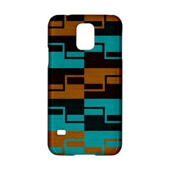 Fabric Textile Texture Gold Aqua Samsung Galaxy S5 Hardshell Case  by AnjaniArt