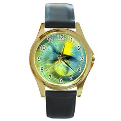 Light Blue Yellow Abstract Fractal Round Gold Metal Watch by designworld65